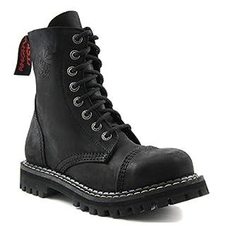 ANGRY ITCH - 8-Loch Gothic Punk Army Ranger Armee Vintage Leder Schwarz Stiefel mit Stahlkappe 36-48 - Made in EU!, EU-Größe:EU-43