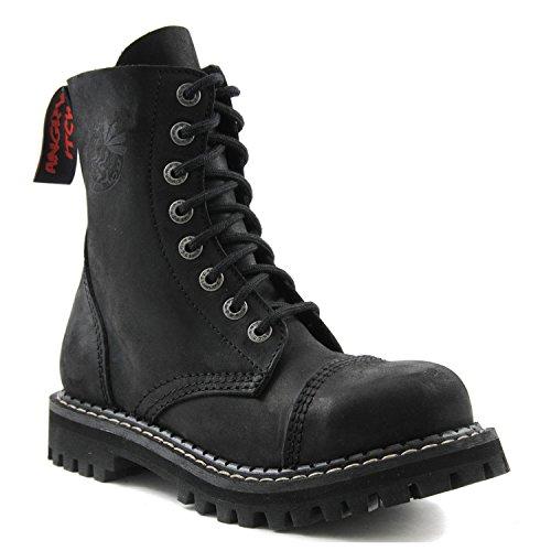 ANGRY ITCH - 8-Loch Gothic Punk Army Ranger Armee Vintage Leder Schwarz Stiefel mit Stahlkappe 36-48 - Made in EU!, EU-Größe:EU-42 -