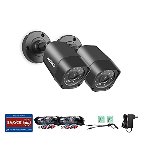 ANNKE 2-Packed 720P HD-TVI Security Camera 1280TVL 1.0MP Hi-Resolution Indoor/Outdoor Bullet Camera with 66ft Super Night Vision, Weatherproof