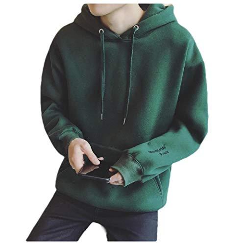 Camo Fleece Pullover Hooded Sweatshirt (CuteRose Men's Loose Letter Hooded Embroidered Pockets Fleece Sweatshirt Blackish Green L)