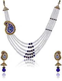 Shining Diva Blue Necklace Set For Women