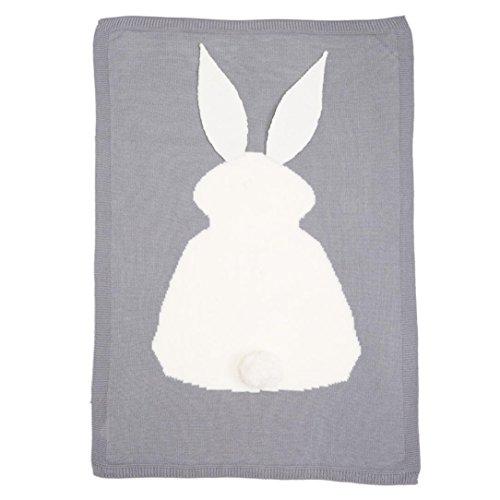 kingko® Kinder Kaninchen Stricken Decke Bettwäsche Gesteppte Spieldecke Tier Kinder werfen Decke Krippe Wrap Decke (Gray) - Stricken Kaninchen