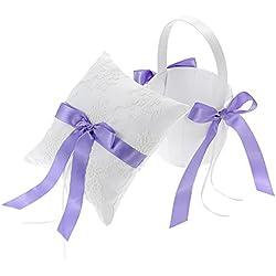 Cesta de Flores con Cojín lazo en color lila