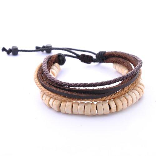 DonDon Herren Armband Leder mit Holzperlen (Braune Holzperlen)