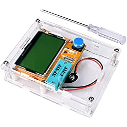 Kit Medidor Multifuncionales de Bricolaje, Kuman Medidor Transistor Gráfico Mega 328, NPN PNP Diodos Triode Condensador LCD Monitor de Resistencia Inductancia de ESR SCR MOSFET K77
