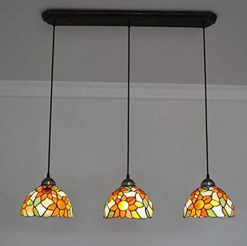 Klassische 8-Zoll-3-Kopf-Sonnenblumen Kronleuchter Tiffany-Stil Glasmalerei Lampenschirm Decke Schmiedeeisen Pendelleuchte für Kücheninsel Restaurant hängende Pendelleuchte -