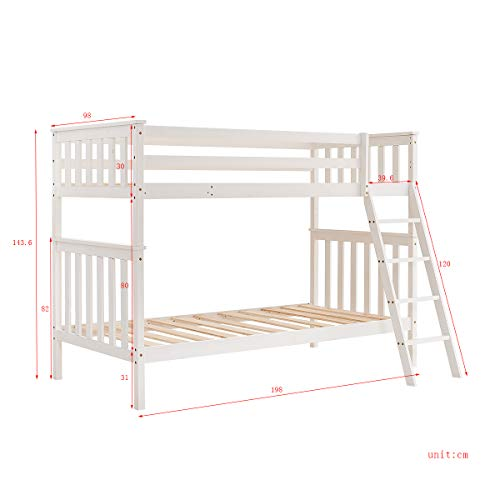 Wooden Bunk Bed,3FT Sleeper Single Beds Frame for Kids Children Adults,Splits into 2 Singles For Bedroom Furniture