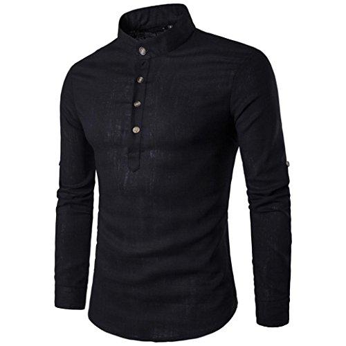 Btruely T-Shirt Herren Langarm Slim Fit Hemden Persönlichkeit Oberteile Knopf Top Freizeithemd Holzfällerhemd Mode Langarm Hemden Männer Pullover Sweatshirts (S, Schwarz)