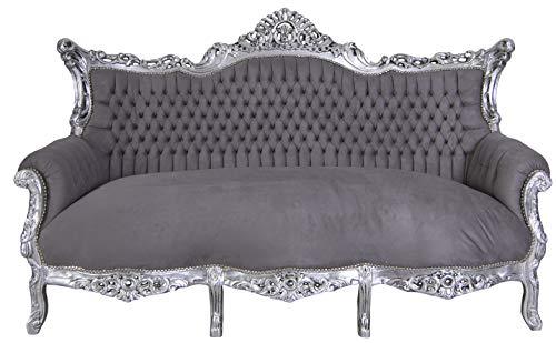 PALAZZO INT Prunksofa barock Sofa Salon Couch Silber Grau Antik Sitzbank 200cm -
