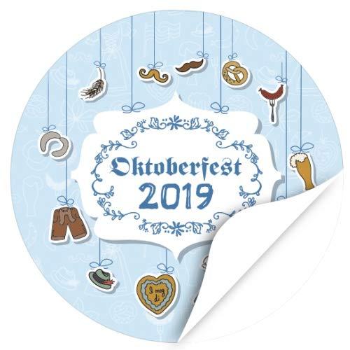 48 Oktoberfest 2019 Etiketten, rund/Traditionell mit passenden Grafiken/zur Dekoration/Aufkleber/Sticker/Einladung