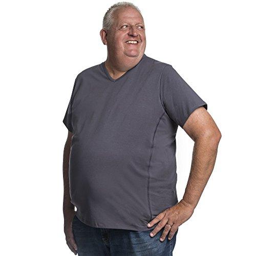 T-Shirt Herren V-Hals Doppelpack Basic 2 Stück Tshirt Übergrößen XL - 8XL für Männer mit Übergröße Bauchumfang 4XL-B Grau