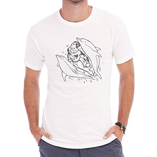Aquaman With Dolphins Swimming Black White Herren T-Shirt Weiß