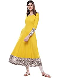 Divena Solid Mustard Yellow Rayon Anarkali Kurtas For Womens New Style