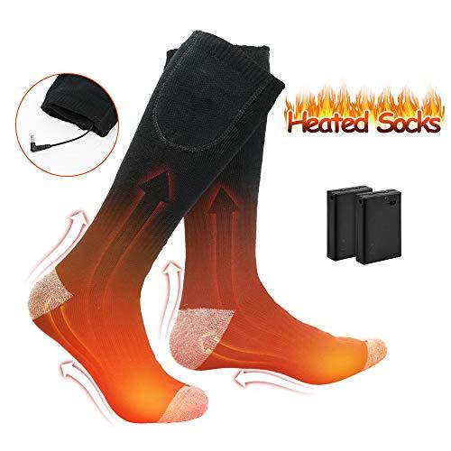 WELTEAYO Chaussettes Chauffantes Electrique, Chaussette Thermique Coton épais pour Femmes et Hommes, Chauffe Pied Chaussettes Thermique pour Ski, Randonnée, Pêche, Moto etc.