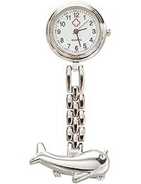 SODIAL(R) Reloj para enfermera broche movimiento cuarzo portatil delfin color plata
