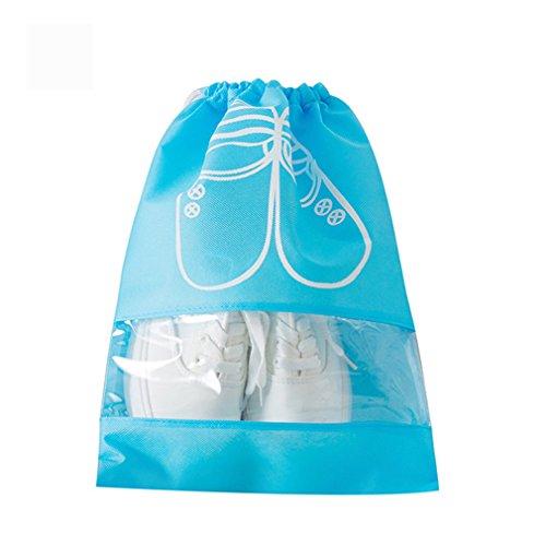 KCNCKSL 2 Größen Wasserdichte Schuhe Tasche Aufbewahrungstasche Portable Tote Kordelzug Organizer Abdeckung Non-Woven Wäsche Sky Blue L (Quadrat Bett In Einem Beutel)