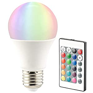 Luminea RGB LED Glühbirne: LED-Lampe, Color RGB & Warmweiß, E27, 10 Watt, mit Fernbedienung (LED Farblampe)