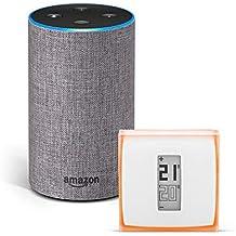 Amazon Echo (2.ª generación), tela de color gris oscuro + Netatmo Termostato Inteligente