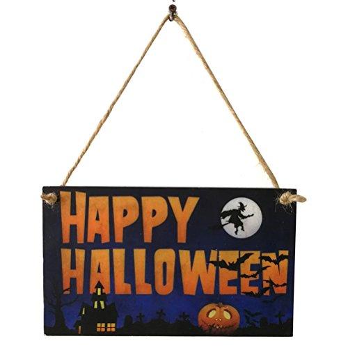 Vosarea 2 Stücke Happy Halloween Board Zeichen Tür Wandbehang Plaque Dekoration Holz Kleiderbügel