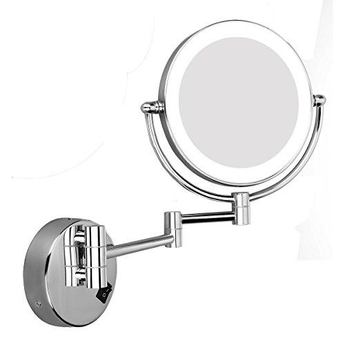 Excelvan Miroirs de Maquillage 8 Pouces 10X Miroir Mural Lumineux LED 360° Miroir de Table Miroir de Grossissement à Base Ronde Miroir de Courtoisie Double Face