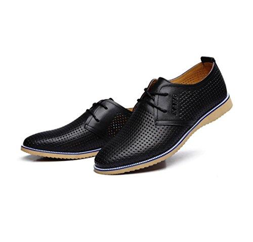 HYLM I nuovi pattini casuali del cuoio genuino dei pattini dell'uomo di estate calza i sandali del merletto dei pattini di affari Black