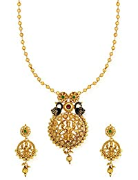 Zaveri Pearls Temple With Twin Peacock Necklace Set For Women-ZPFK6471