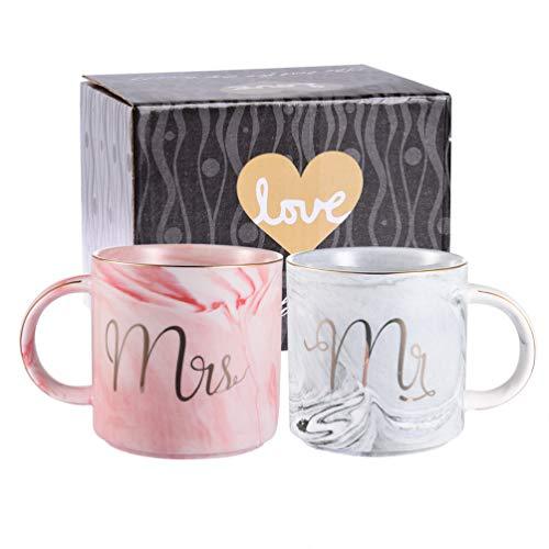 Uarter Keramik Kaffeetassen Mr und Mrs Tassen Marbling mit goldenen Mustern, perfekt für Kaffee, Tee und Wasser, 400 ml, 2 Stücke(Decke und die Löffel dabei sind nicht) Keramik-keramik-tasse