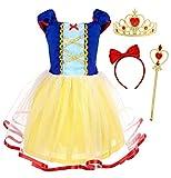 AmzBarley Disfraz Vestido Princesa Blancanieves Elsa Frozen Niña Tutu Ceremonia,Traje Niña Bella,Disfraz Infantil Fiesta Carnaval Cosplay Halloween (Amarillo-01 con Accesorios, 1-2 Años)