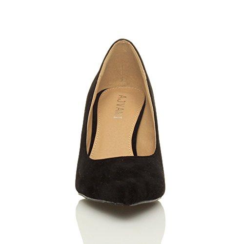 Ajvani Donna tacco medio semplice completo essenziale punta décolleté scarpe numero Nera scamosciata