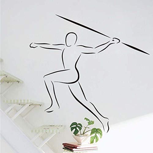Waofe Sport Sticker Sport Joueur Contour Vinyle Maison Avec Art Décor Amovible Salon Javelin Intérieur Design Stickers Muraux 44 * 42 Cm