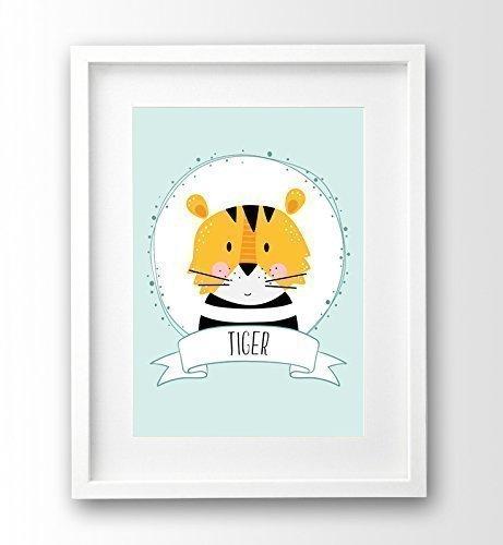Kinderbild ungerahmt, kleiner Tiger, Wunschname personalisiert, Kinderposter Tiere Geschenk Geburt Taufe
