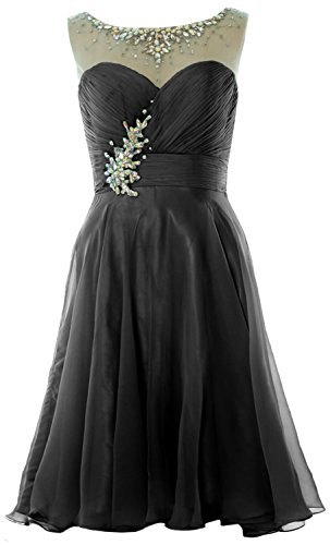 MACloth Women Straps Crystal Chiffon Short Prom Dress Cocktail Party Formal Gown Schwarz