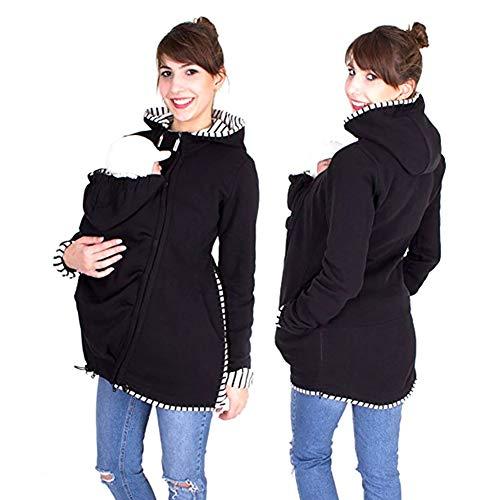 Baby Carrier Hoodies Mäntel, 2 In 1 Frauen Mutterschaft Sweat-Shirts Fleece Känguru-Tasche Mantel Jacke Für Schwangere Tragen Halter Pullover Polar Fleece Pullover,Black,XL