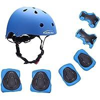 Kamugo equipo de protección ajustable para deportes para niños ajustable, casco, rodilleras, coderas y guantes para bicicleta BMX, motocicleta, skateboard, monopatín y otros deportes extremos , azul