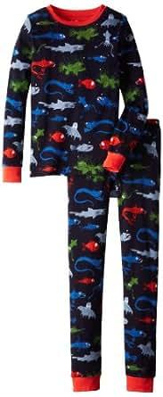 Hatley Boy's Ovl Deep Sea Creatures Pyjama Set, Blue (Navy), 12 Years