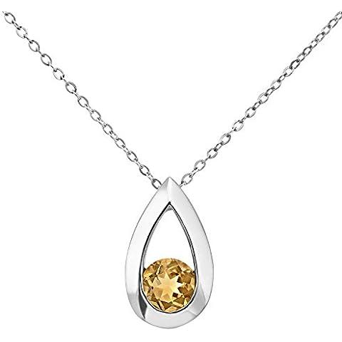 Revoni–9ct oro bianco citrino Teardrop Collana Design a goccia, lunghezza 46cm