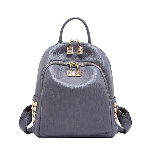 BOYATU Frauen Echtes Leder Rucksack Geldbörse Mode Mini Daypack Schultertasche Grau - Dakine Canvas Brieftasche
