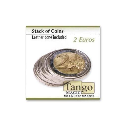 Stack-of-coins-leather-coin-included-by-Tango-Magic-2-Euro-Magie-mit-Tuch-Zaubertricks-und-Magie