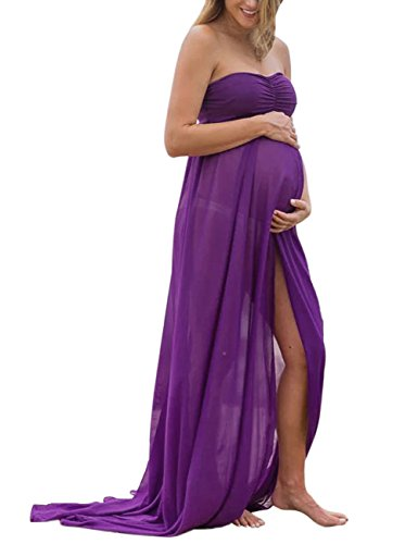 KOJOOIN Damen Elagant Umstandskleid Off Schulter Chiffon Schwanger Fotografie Rock, Festlich Lange Schwangerschafts Kleider -