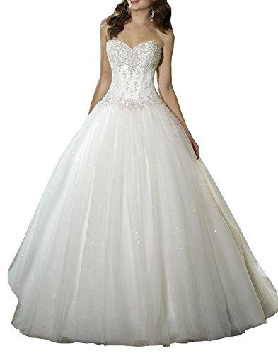 Brautkleider Damen Lang Tüll Kleider für Braut A-Linie Hochzeitskleid Trägerlos Kleid Elfenbein...