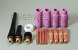 WIG Gaslinse WIG Gasdüsen WIG Zurück Cup Kit Fit SR WP17 18 26 WIG-Schweißbrenner Zubehör Verbrauchsmaterial 16pcs