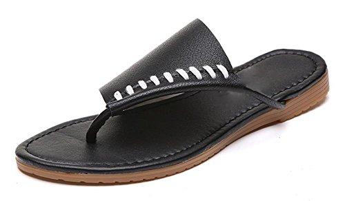 Frau Sommer Sandalen flache Ferse Sandalen Strand Auto Naht Schuhe Black