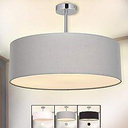 Ceiling Light, SPAKRSOR Modern Fabric Pendant Light Shade, Large Grey Drum Lampshade, Round Pendant Lamp, for Bedroom Living Room, Flush Chrome Matt, 3 bulb, E27