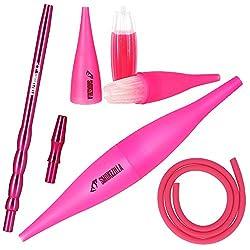 Smokezilla COOLIN Ice Bazooka + Alumundstück + Silikonschlauch Set | Der Shisha-Rauch Wird durch das Icemundstück gekühlt! | Kompatibel mit Allen Shisha-Schläuchen (Neon-Pink)