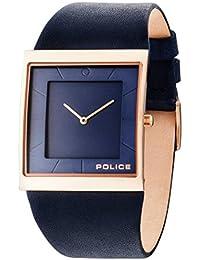 Police Skyline X Herren Quarzuhr mit blauem Zifferblatt Analog-Anzeige und Blau Lederband 14694MSR/03A
