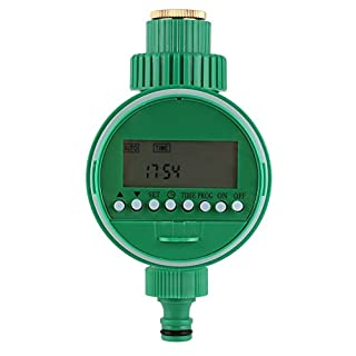 FIXKIT Elektronische Wasser Timer, Bewässerungsuhr, Zeitmesser mit LCD Display Digital Bewässerung Controller, Automatische Bewässerung für Garten Pflanz