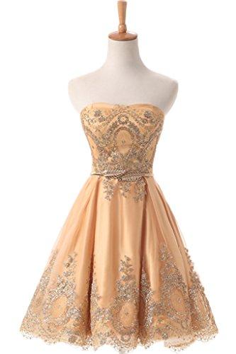 Gorgeous Bride Scheind A-Linie V-Ausschnitte Tuell Lang Abendkleider Festkleider Ballkleider V-Bildfarbe B-Kurz