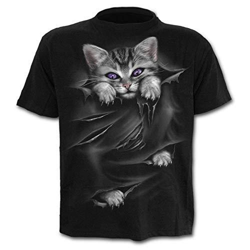 Männer Casual T-Shirt Kreative 3D Digitaldruck Katze Schlankes Kurzärmeliges T-Shirt Katze XL