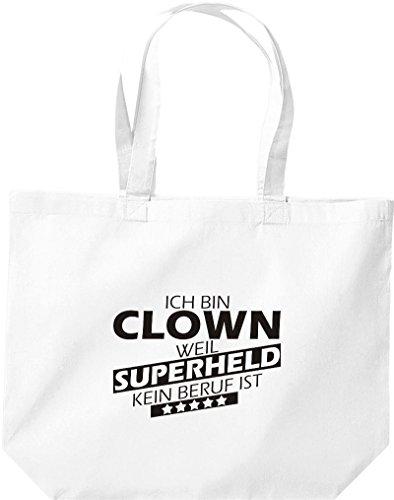 Shirtstown große Einkaufstasche, Ich bin Clown, weil Superheld kein Beruf ist, weiss