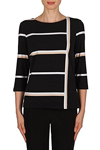 Joseph Ribkoff Black and Beige Striped Top Style 181900 - Spring 2018
